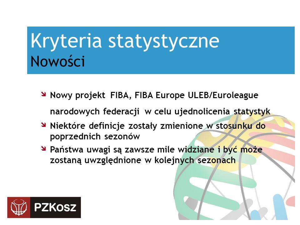 Kryteria statystyczne Nowości Nowy projekt FIBA, FIBA Europe ULEB/Euroleague narodowych federacji w celu ujednolicenia statystyk Niektóre definicje zostały zmienione w stosunku do poprzednich sezonów Państwa uwagi są zawsze mile widziane i być może zostaną uwzględnione w kolejnych sezonach