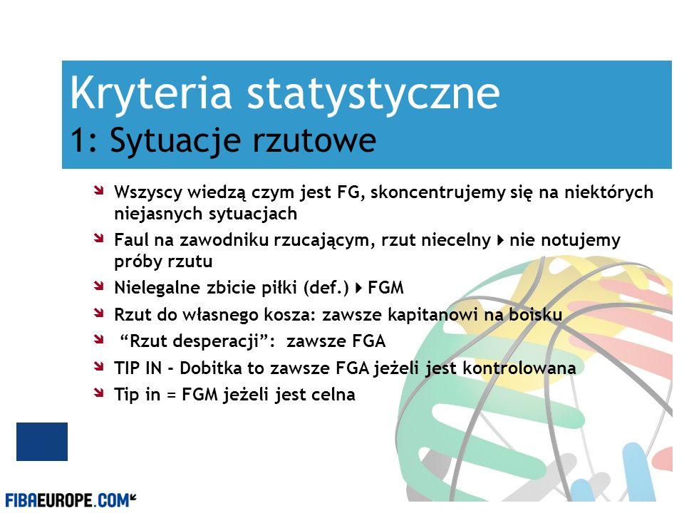 Kryteria statystyczne 1: Sytuacje rzutowe Wszyscy wiedzą czym jest FG, skoncentrujemy się na niektórych niejasnych sytuacjach Faul na zawodniku rzucaj