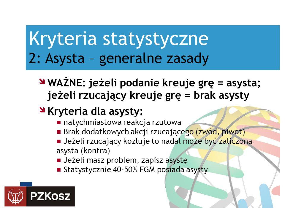 Kryteria statystyczne 2: Asysta – generalne zasady WAŻNE: jeżeli podanie kreuje grę = asysta; jeżeli rzucający kreuje grę = brak asysty Kryteria dla a