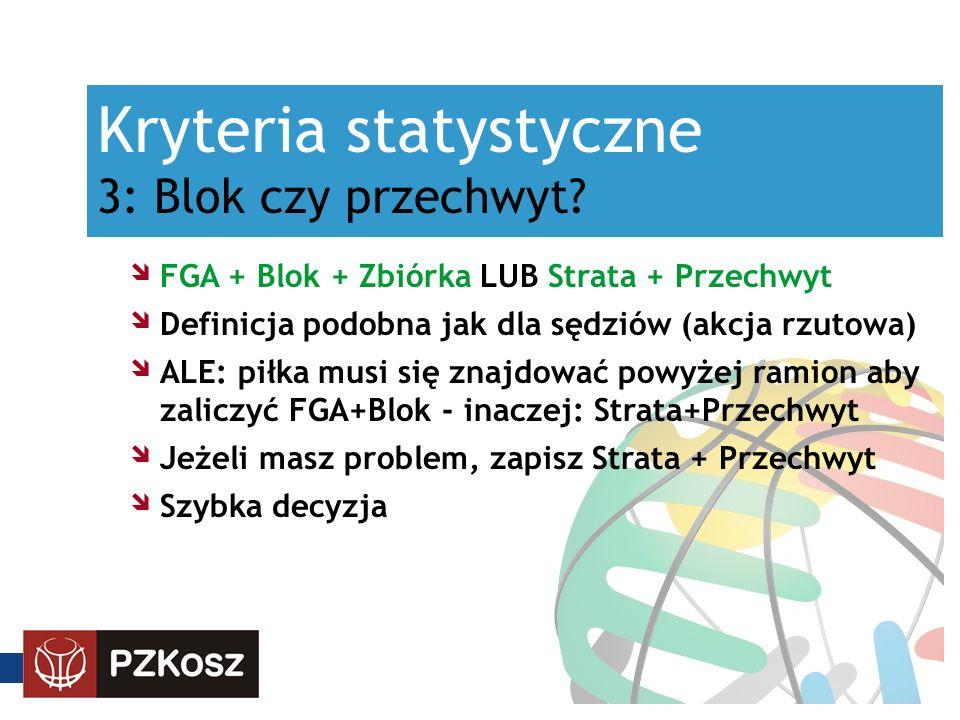 Kryteria statystyczne 3: Blok czy przechwyt? FGA + Blok + Zbiórka LUB Strata + Przechwyt Definicja podobna jak dla sędziów (akcja rzutowa) ALE: piłka