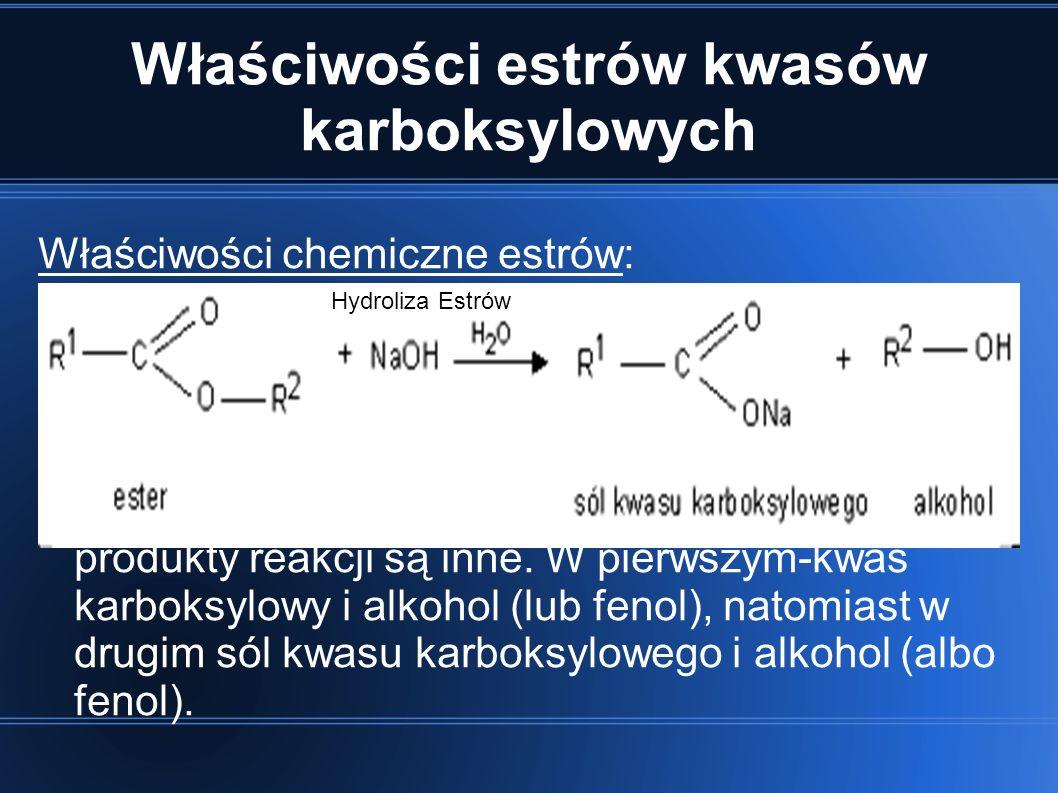 Właściwości estrów kwasów karboksylowych Właściwości chemiczne estrów: Ulegają bardzo łatwo reakcji hydrolizy czyli rozpadowi na kwas i alkohol pod wp