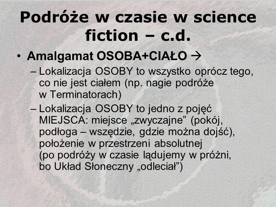 Podróże w czasie w science fiction – c.d. Amalgamat OSOBA+CIAŁO –Lokalizacja OSOBY to wszystko oprócz tego, co nie jest ciałem (np. nagie podróże w Te