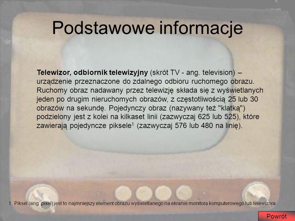 Podstawowe informacje Powrót Telewizor, odbiornik telewizyjny (skrót TV - ang. television) – urządzenie przeznaczone do zdalnego odbioru ruchomego obr