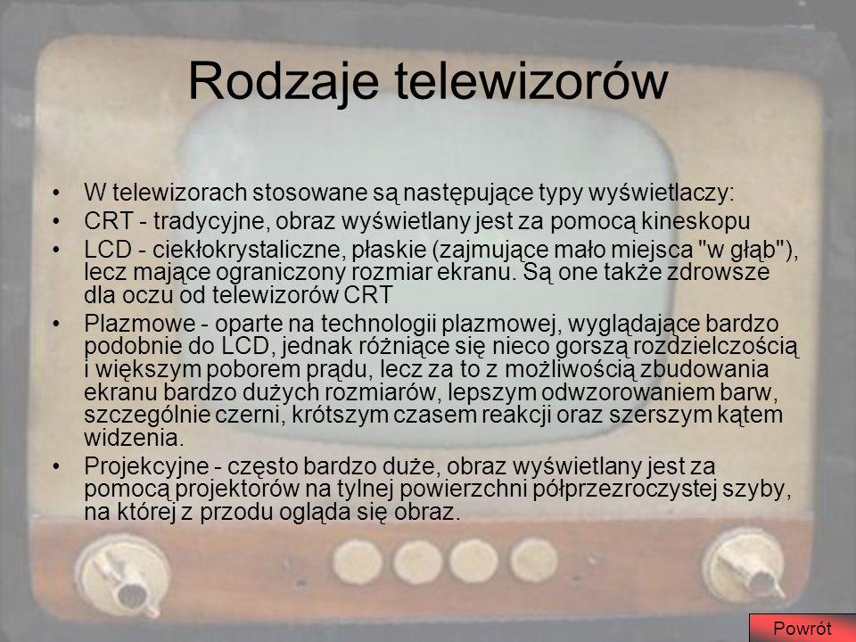 Rodzaje telewizorów W telewizorach stosowane są następujące typy wyświetlaczy: CRT - tradycyjne, obraz wyświetlany jest za pomocą kineskopu LCD - ciek