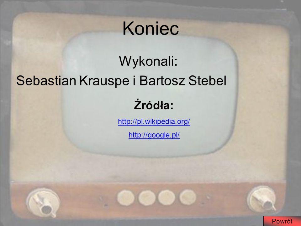 Koniec Wykonali: Sebastian Krauspe i Bartosz Stebel Źródła: http://pl.wikipedia.org/ http://google.pl/ Powrót