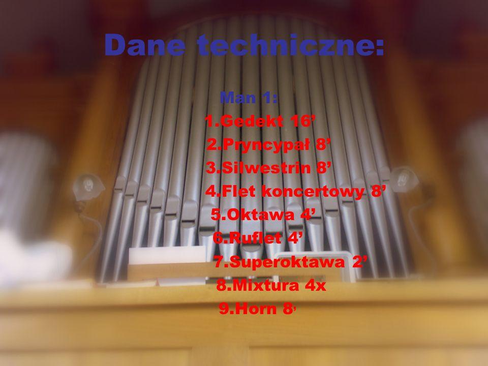 Dane techniczne: Man 1: 1.Gedekt 16 2.Pryncypał 8 3.Silwestrin 8 4.Flet koncertowy 8 5.Oktawa 4 6.Ruflet 4 7.Superoktawa 2 8.Mixtura 4x 9.Horn 8