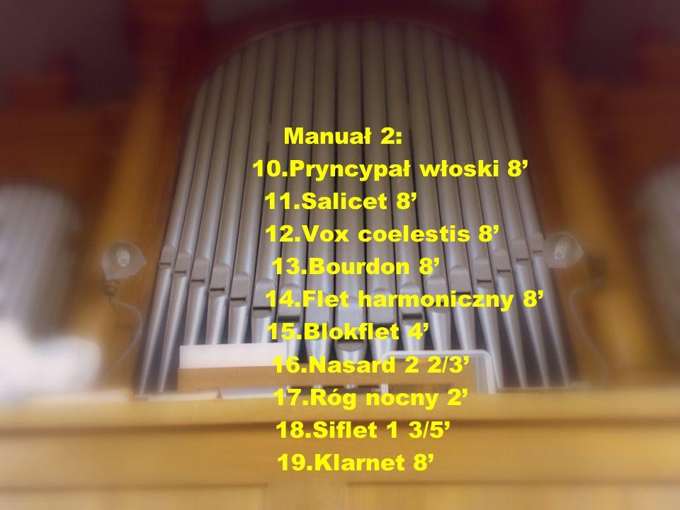 Manuał 2: 10.Pryncypał włoski 8 11.Salicet 8 12.Vox coelestis 8 13.Bourdon 8 14.Flet harmoniczny 8 15.Blokflet 4 16.Nasard 2 2/3 17.Róg nocny 2 18.Sif