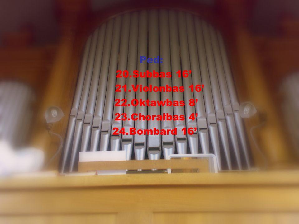 Urządzenia dodatkowe: żaluzja dla 2 manuału Crescendo jedna wolna kombinacja połączenia:M2-M1,M1-Ped,M2- Ped,Super M1,Super M2-M1,Sub M2- M1,Super M1-Ped,Super Man2-Ped automat pedału registry zbiorowe: Piano,Forte,Tutti.