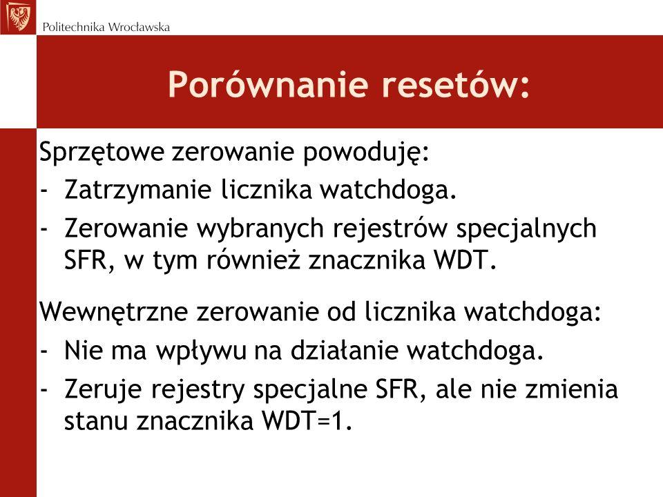 Porównanie resetów: Sprzętowe zerowanie powoduję: -Zatrzymanie licznika watchdoga. -Zerowanie wybranych rejestrów specjalnych SFR, w tym również znacz