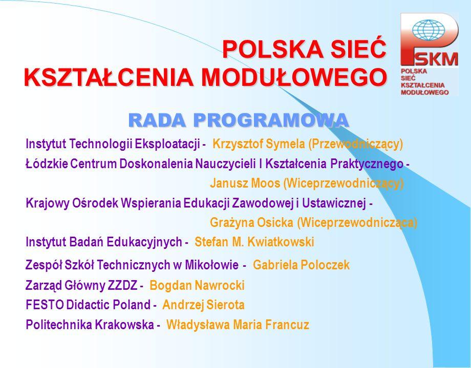 POLSKA SIEĆ KSZTAŁCENIA MODUŁOWEGO RADA PROGRAMOWA Instytut Technologii Eksploatacji - Krzysztof Symela (Przewodniczący) Łódzkie Centrum Doskonalenia