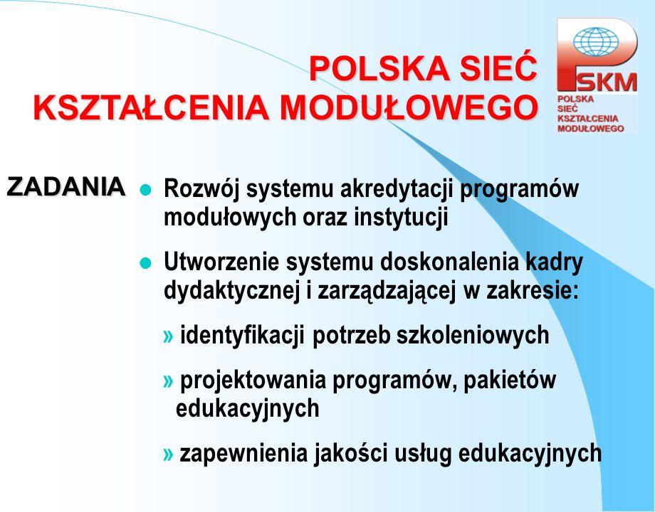 POLSKA SIEĆ KSZTAŁCENIA MODUŁOWEGO ZADANIA l Rozwój systemu akredytacji programów modułowych oraz instytucji l Utworzenie systemu doskonalenia kadry d