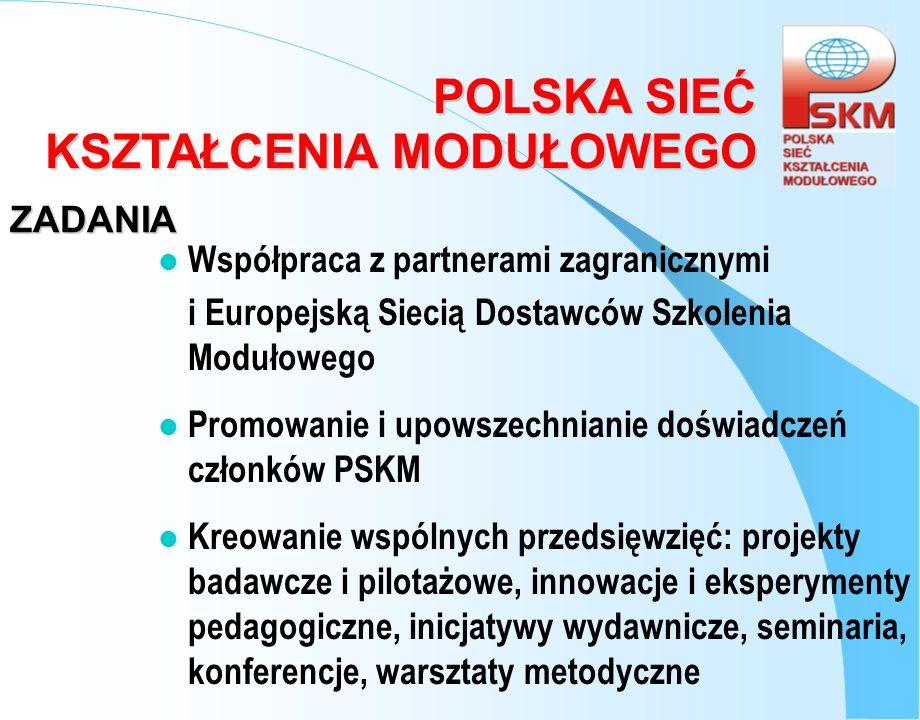 POLSKA SIEĆ KSZTAŁCENIA MODUŁOWEGO ZADANIA l Współpraca z partnerami zagranicznymi i Europejską Siecią Dostawców Szkolenia Modułowego l Promowanie i u