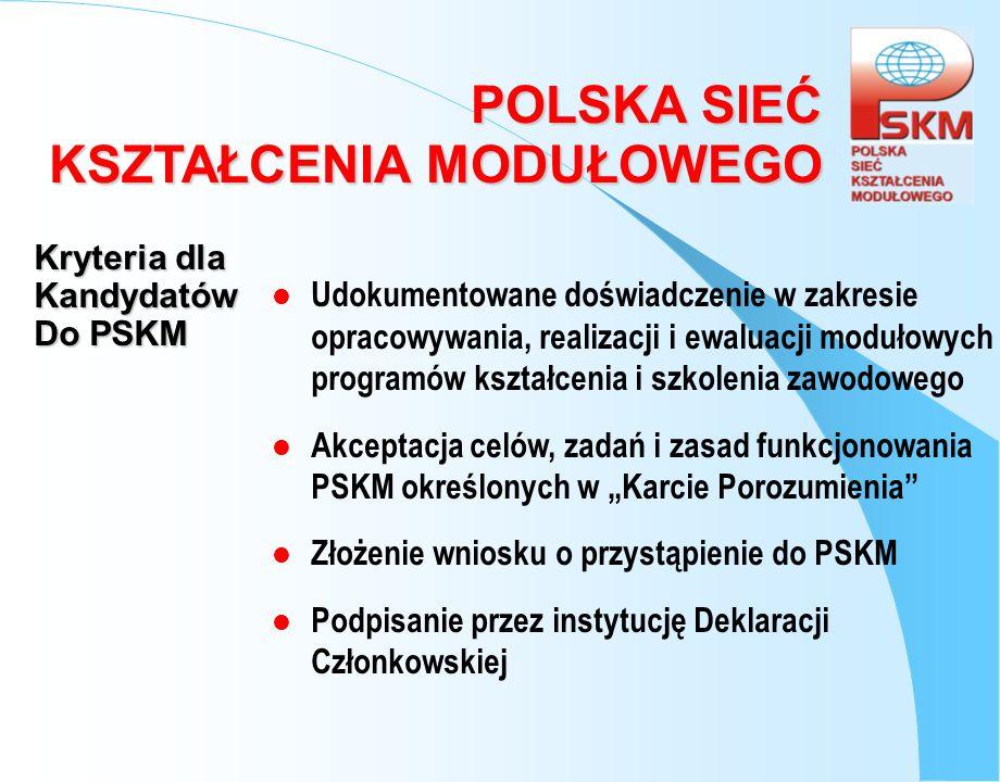 POLSKA SIEĆ KSZTAŁCENIA MODUŁOWEGO Deklaracja Członkowska POLSKA SIEĆ KSZTAŁCENIA MODUŁOWEGO (PSKM) Oświadczam, że akceptuję treść Karty Porozumienia Polskiej Sieci Kształcenia Modułowego oraz deklaruję przystąpienie:..............................................................................................