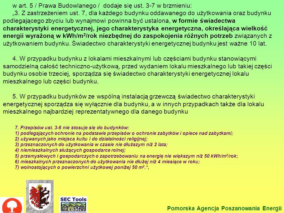 Prawo budowl -2 Pomorska Agencja Poszanowania Energii w art. 5 / Prawa Budowlanego / dodaje się ust. 3-7 w brzmieniu: 3. Z zastrzeżeniem ust. 7, dla k