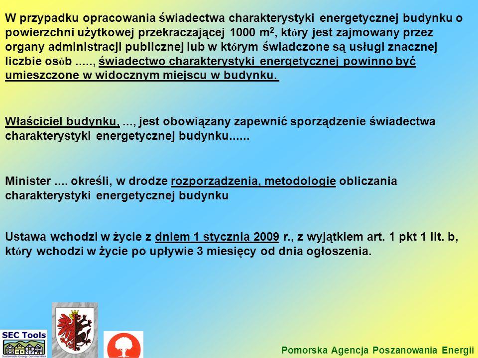 Minister.... określi, w drodze rozporządzenia, metodologie obliczania charakterystyki energetycznej budynku Ustawa wchodzi w życie z dniem 1 stycznia