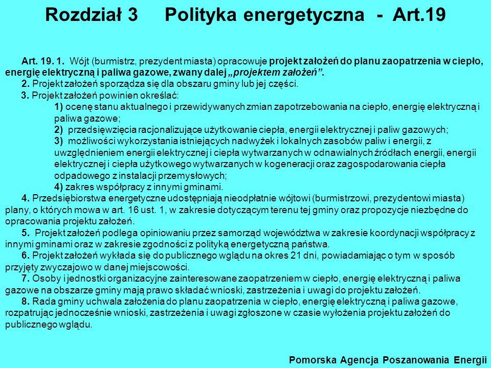 Prawo energet – 5 Rozdział 3 Polityka energetyczna - Art.19 Pomorska Agencja Poszanowania Energii Art. 19. 1. Wójt (burmistrz, prezydent miasta) oprac
