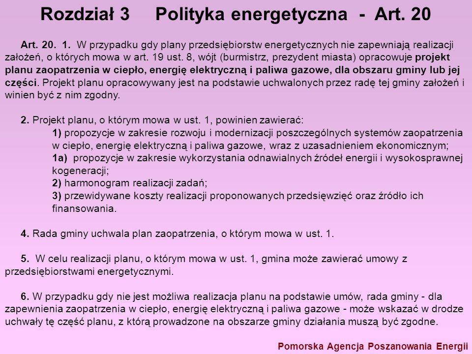 Prawo energet – 6 Rozdział 3 Polityka energetyczna - Art. 20 Pomorska Agencja Poszanowania Energii Art. 20. 1. W przypadku gdy plany przedsiębiorstw e