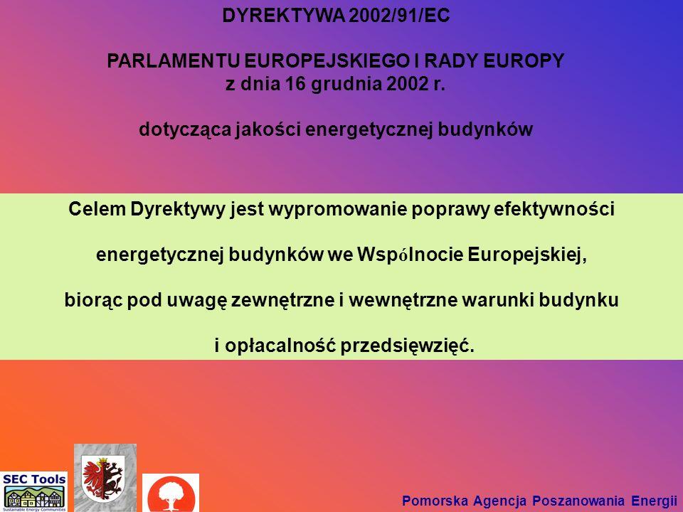 DYREKTYWA 2002/91/EC PARLAMENTU EUROPEJSKIEGO I RADY EUROPY z dnia 16 grudnia 2002 r. dotycząca jakości energetycznej budynków Pomorska Agencja Poszan