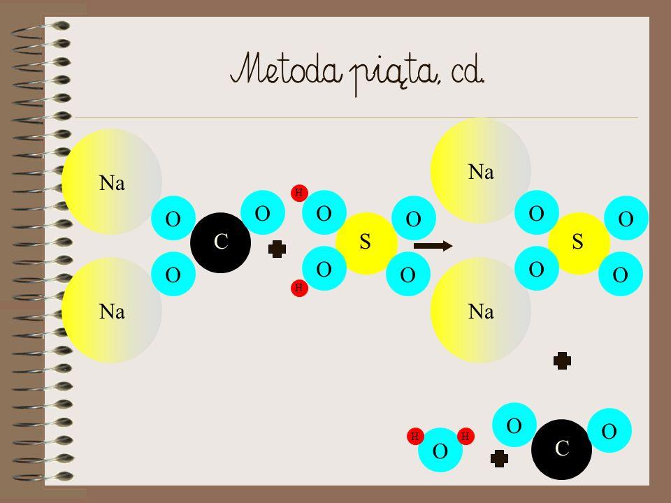Metoda [piąta Reakcja STRĄCENIOWA SOLI Z KWASEM: Sól + kwas => Sól () + kwas (inne) np. Na 2 CO 3 + H 2 SO 4 => Na 2 SO 4 + H 2 O + CO 2 (zapis cząste