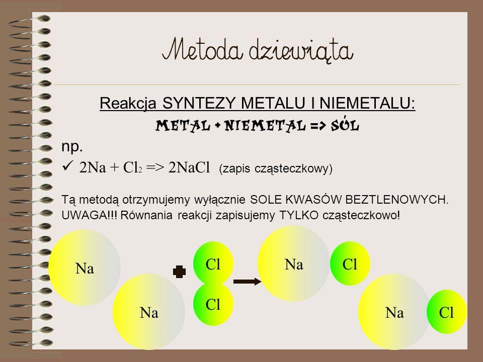Metoda ósma Reakcja SYNTEZY TLENKU METALU I TLENKU NIEMETALU: Tlenek metalu + tlenek niemetalu => sól np. CaO + CO 2 => CaCO 3 (zapis cząsteczkowy) UW