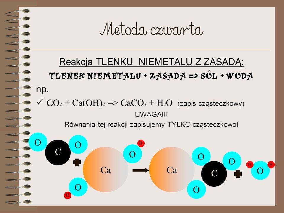 Metoda trzecia Reakcja TLENKU METALU Z KWASEM: Tlenek metalu + kwas => Sól + woda np. CuO + H 2 SO 4 => CuSO 4 + H 2 O (zapis cząsteczkowy) UWAGA!!! R