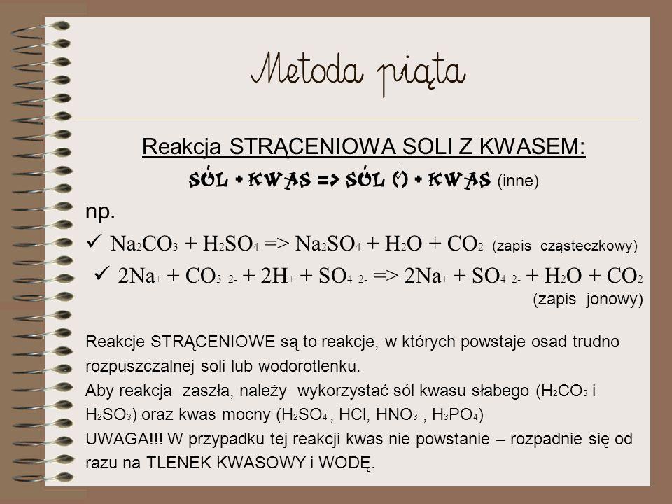 Metoda [piąta Reakcja STRĄCENIOWA SOLI Z KWASEM: Sól + kwas => Sól () + kwas (inne) np.