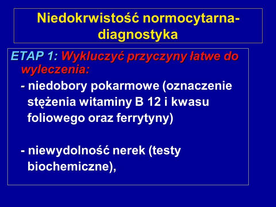 Niedokrwistość normocytarna- diagnostyka ETAP 1: Wykluczyć przyczyny łatwe do wyleczenia: - - niedobory pokarmowe (oznaczenie stężenia witaminy B 12 i