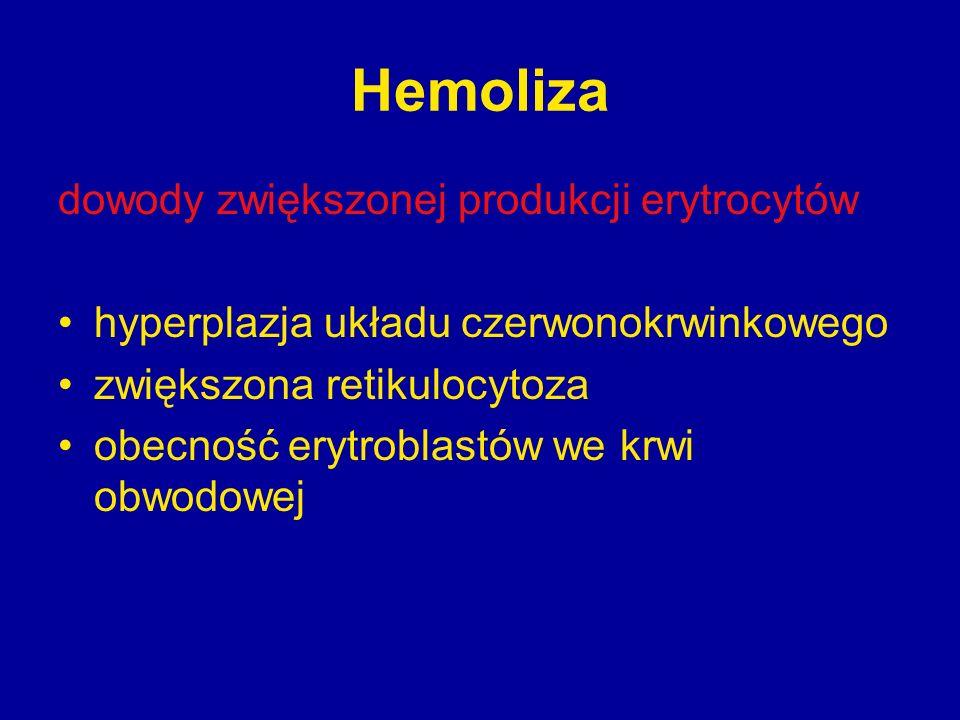 Hemoliza dowody zwiększonej produkcji erytrocytów hyperplazja układu czerwonokrwinkowego zwiększona retikulocytoza obecność erytroblastów we krwi obwo