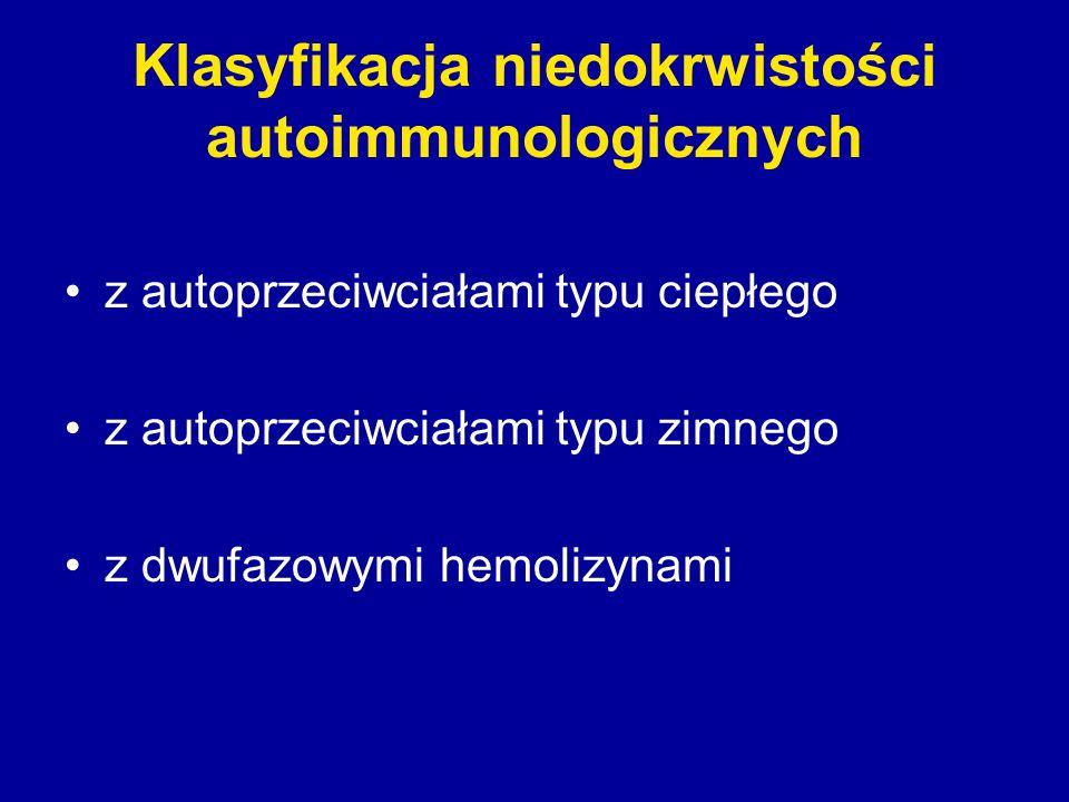 Klasyfikacja niedokrwistości autoimmunologicznych z autoprzeciwciałami typu ciepłego z autoprzeciwciałami typu zimnego z dwufazowymi hemolizynami