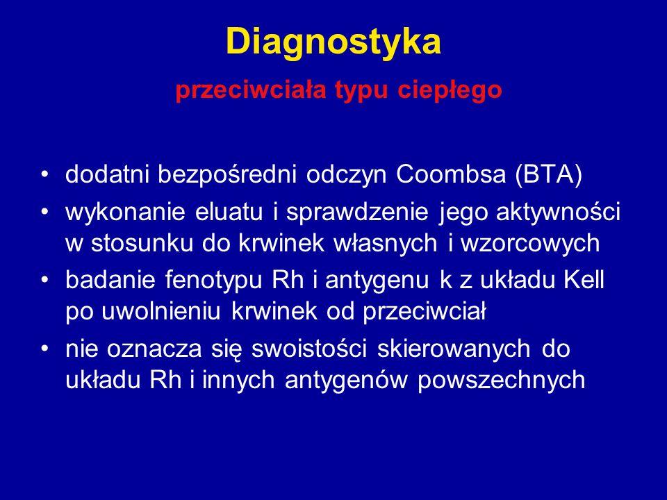 Diagnostyka przeciwciała typu ciepłego dodatni bezpośredni odczyn Coombsa (BTA) wykonanie eluatu i sprawdzenie jego aktywności w stosunku do krwinek w