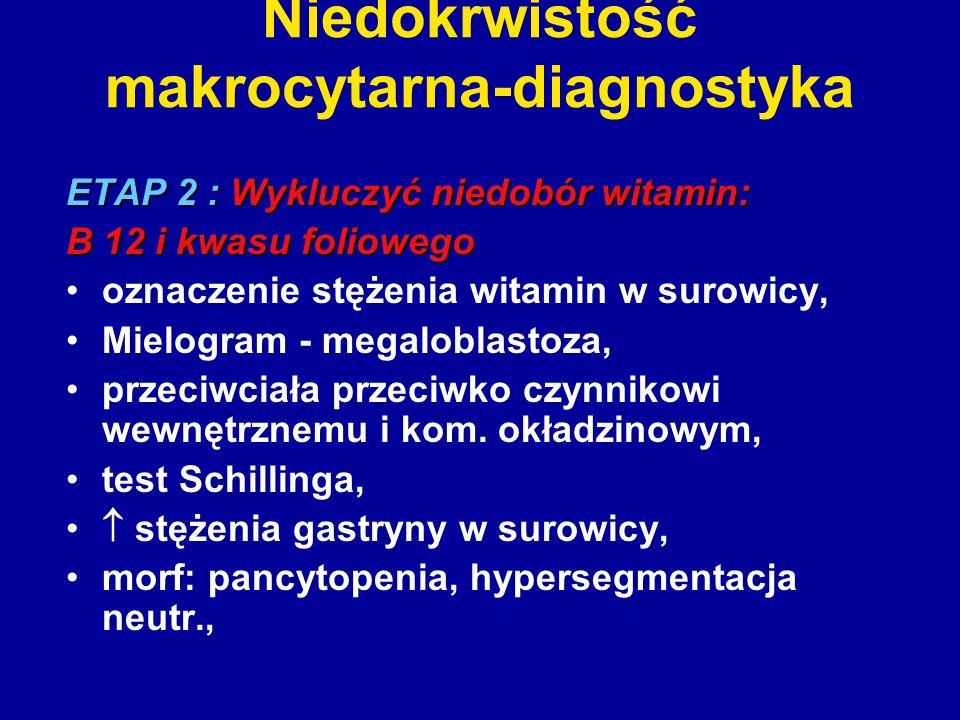 Niedokrwistość makrocytarna-diagnostyka ETAP 2 : Wykluczyć niedobór witamin: B 12 i kwasu foliowego oznaczenie stężenia witamin w surowicy, Mielogram