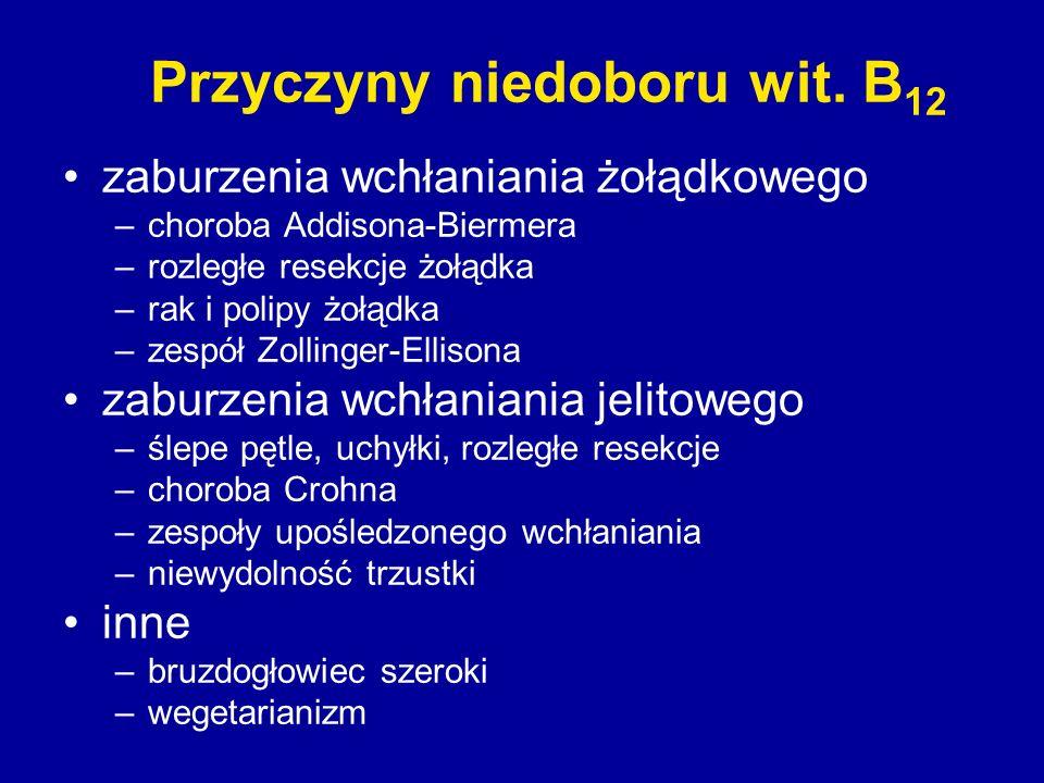 Przyczyny niedoboru wit. B 12 zaburzenia wchłaniania żołądkowego –choroba Addisona-Biermera –rozległe resekcje żołądka –rak i polipy żołądka –zespół Z
