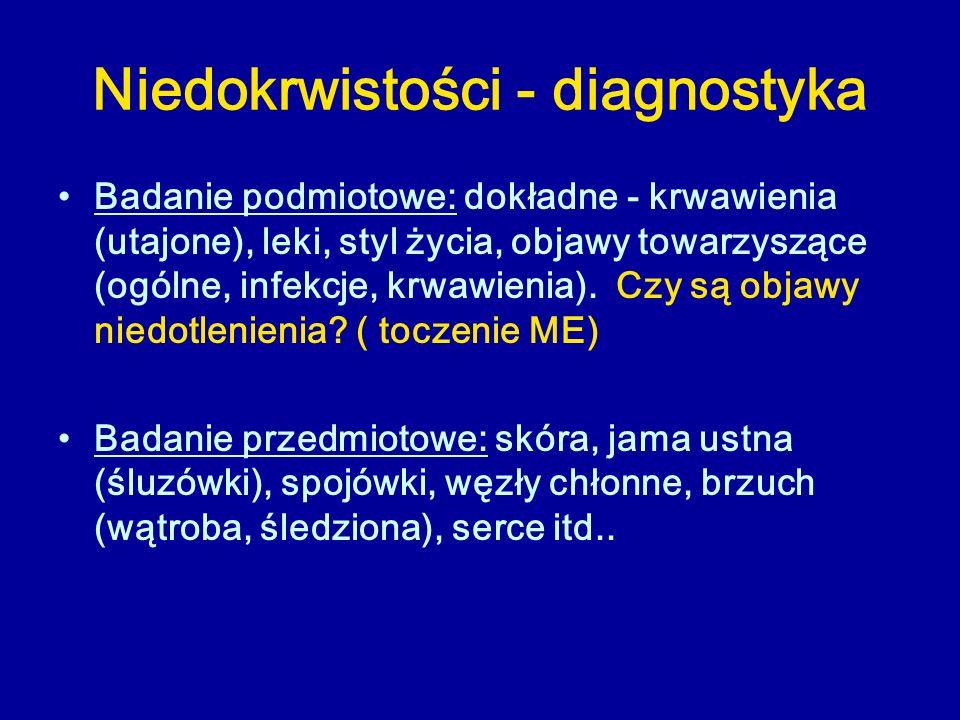 Niedokrwistości - diagnostyka Badanie podmiotowe: dokładne - krwawienia (utajone), leki, styl życia, objawy towarzyszące (ogólne, infekcje, krwawienia