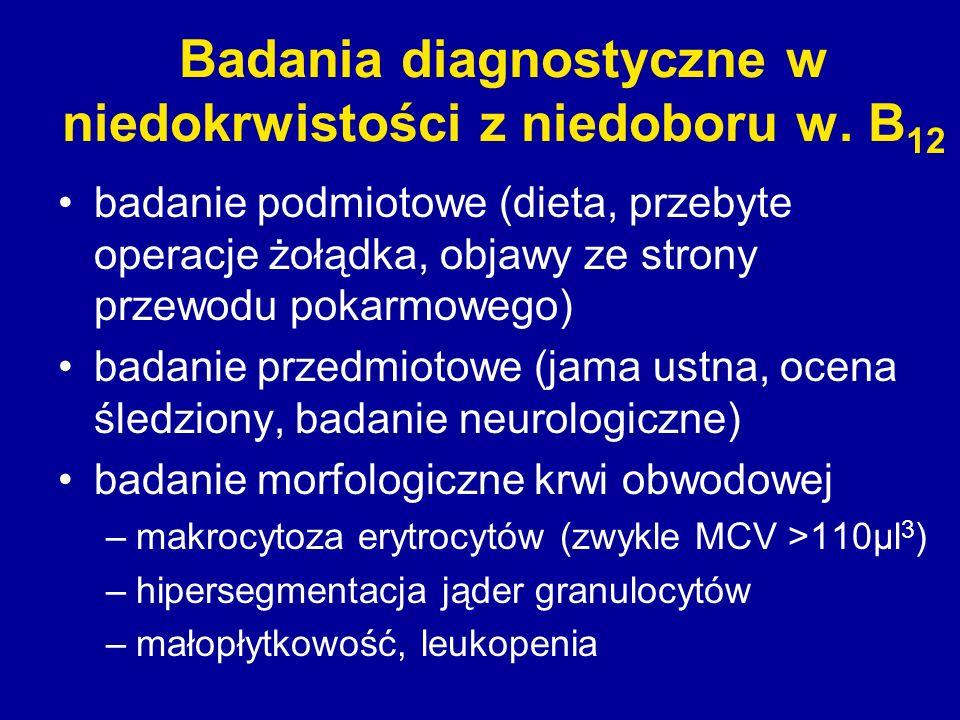 Badania diagnostyczne w niedokrwistości z niedoboru w. B 12 badanie podmiotowe (dieta, przebyte operacje żołądka, objawy ze strony przewodu pokarmoweg