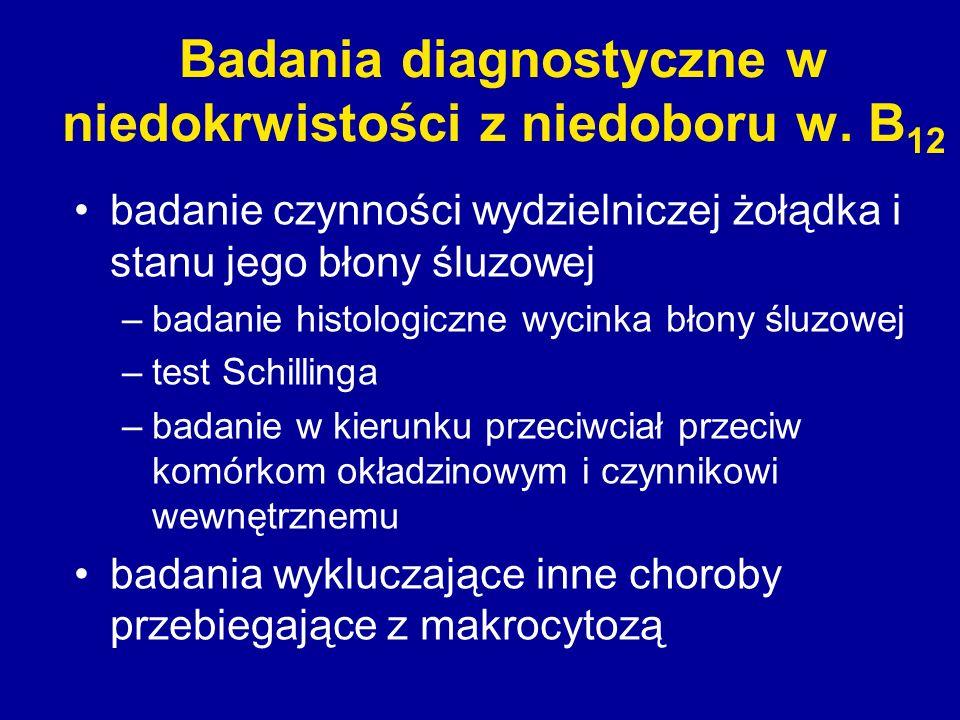 Badania diagnostyczne w niedokrwistości z niedoboru w. B 12 badanie czynności wydzielniczej żołądka i stanu jego błony śluzowej –badanie histologiczne