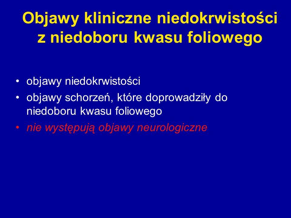 Objawy kliniczne niedokrwistości z niedoboru kwasu foliowego objawy niedokrwistości objawy schorzeń, które doprowadziły do niedoboru kwasu foliowego n