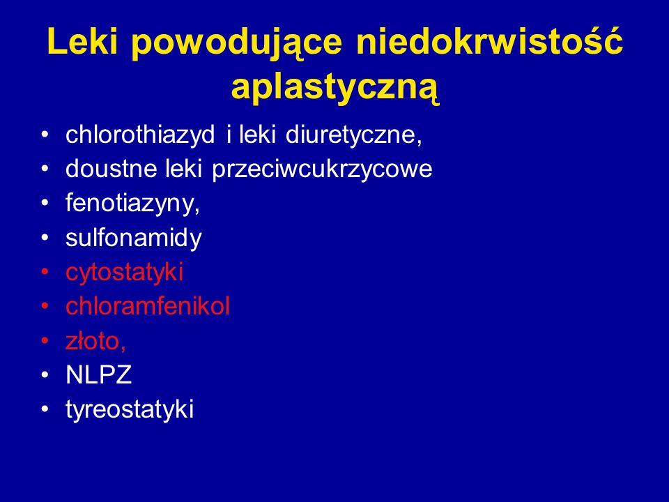 Leki powodujące niedokrwistość aplastyczną chlorothiazyd i leki diuretyczne, doustne leki przeciwcukrzycowe fenotiazyny, sulfonamidy cytostatyki chlor