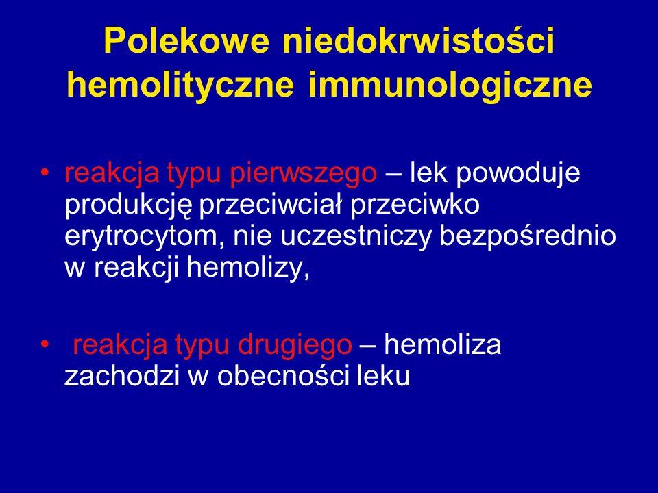 Polekowe niedokrwistości hemolityczne immunologiczne reakcja typu pierwszego – lek powoduje produkcję przeciwciał przeciwko erytrocytom, nie uczestnic