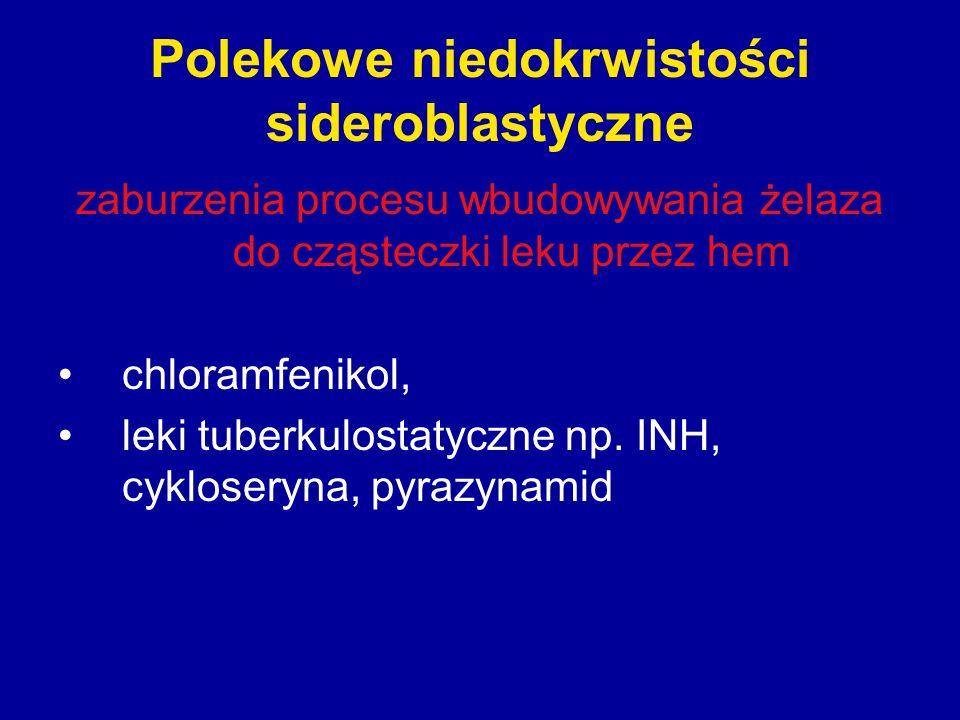 Polekowe niedokrwistości sideroblastyczne zaburzenia procesu wbudowywania żelaza do cząsteczki leku przez hem chloramfenikol, leki tuberkulostatyczne