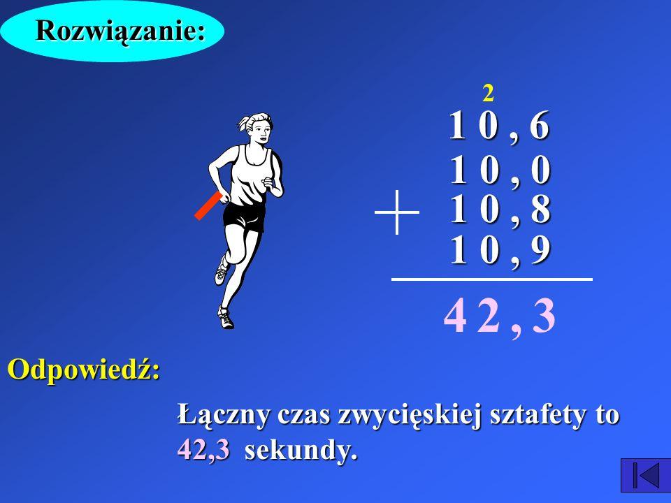 Na lekcji WF-u zorganizowano konkurs dla uczniów – sztafetę 4 x 100 metrów. W zwycięskiej drużynie uczniowie uzyskali następujące czasy: 10,6 s ; 10 s
