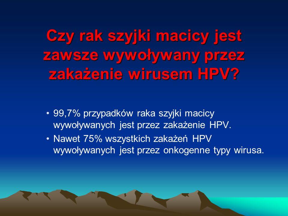 Czy rak szyjki macicy jest zawsze wywoływany przez zakażenie wirusem HPV? 99,7% przypadków raka szyjki macicy wywoływanych jest przez zakażenie HPV. N