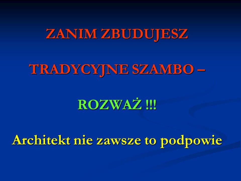 KALKULACJA KOSZTÓW Norma zużycia wody na jednego mieszkańca w Polsce wynosi 150l/dobę Przeciętna rodzina liczy 6 osób 6 osób X 150 litrów wody = 900 litrów ścieku dziennie 900 litrów X 30 dni = 27000 litrów (27m³) 27m³ X 10 zł = 270 złotych