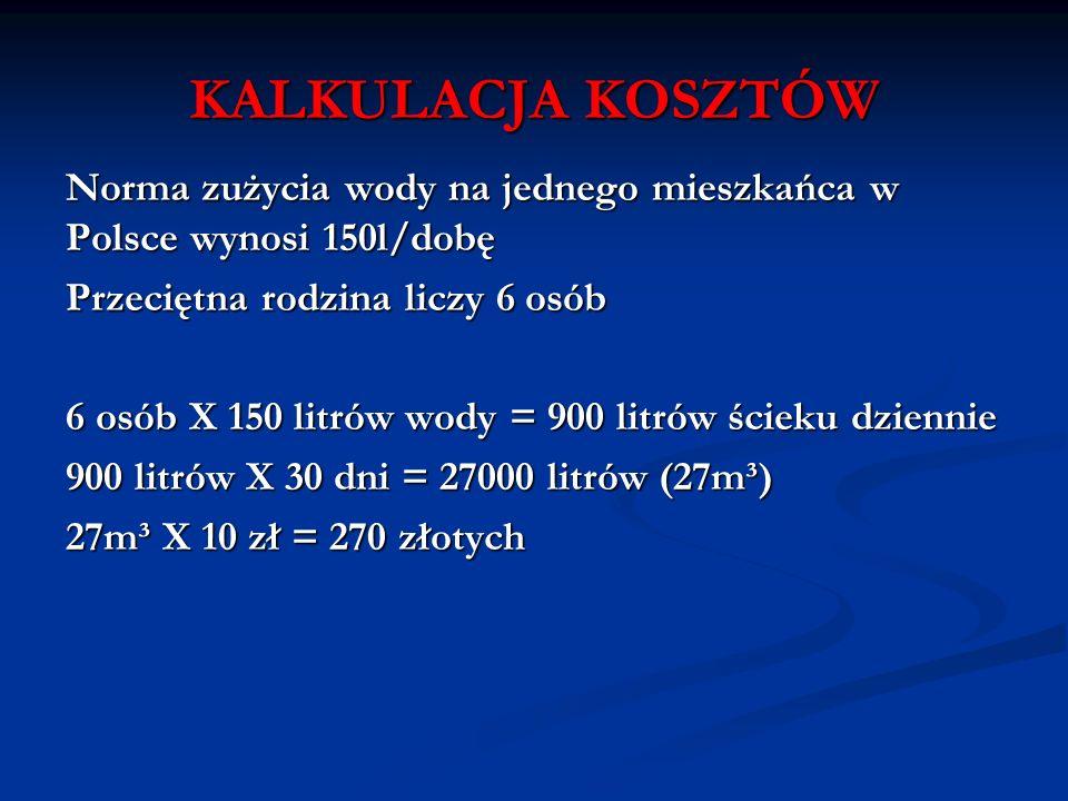 KALKULACJA KOSZTÓW Norma zużycia wody na jednego mieszkańca w Polsce wynosi 150l/dobę Przeciętna rodzina liczy 6 osób 6 osób X 150 litrów wody = 900 l