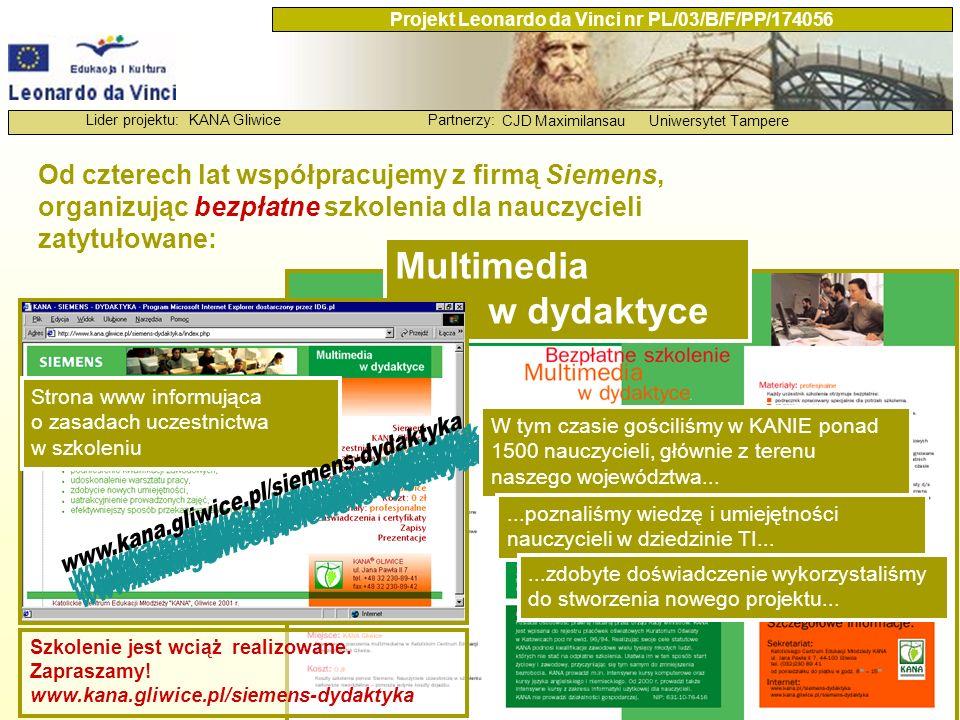 KANA GliwicePartnerzy: CJD MaximilansauUniwersytet Tampere Lider projektu: Projekt Leonardo da Vinci nr PL/03/B/F/PP/174056 Symulacja kosztów doskonalenia zawodowego nauczycieli w dziedzinie technologii informacyjnej w skali całego kraju w latach 2004 – 2008 Warunki organizacyjno-techniczne, cd.