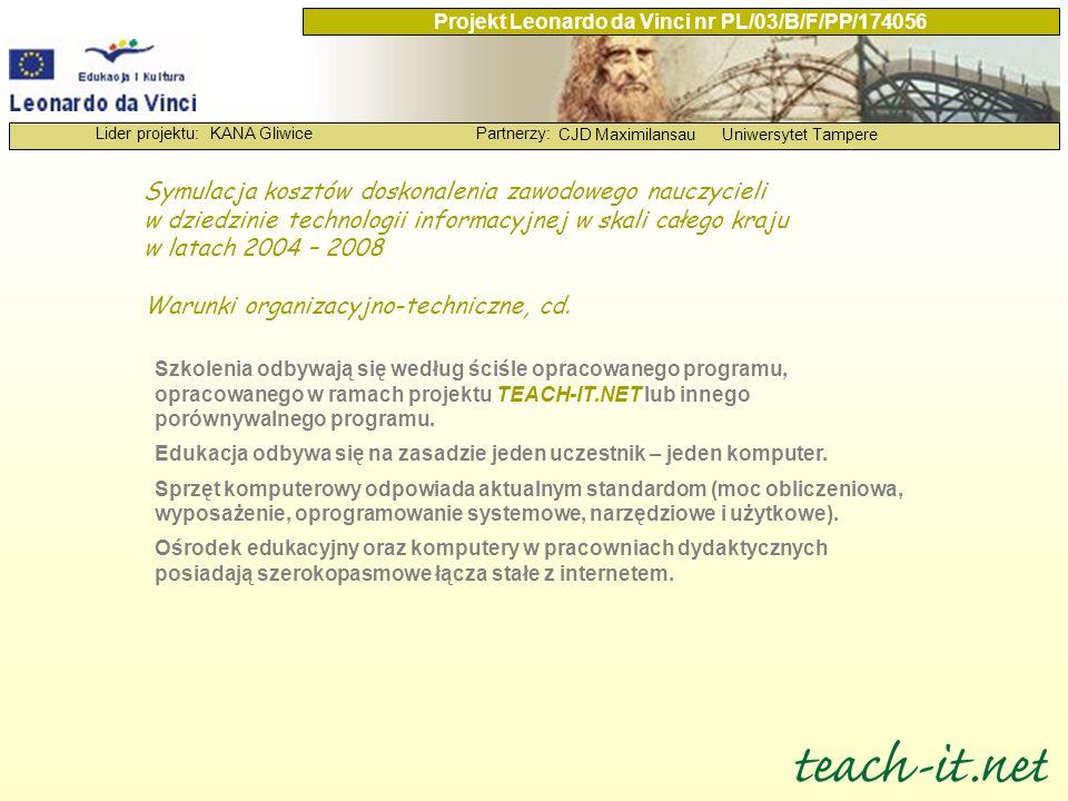 KANA GliwicePartnerzy: CJD MaximilansauUniwersytet Tampere Lider projektu: Projekt Leonardo da Vinci nr PL/03/B/F/PP/174056 Symulacja kosztów doskonal