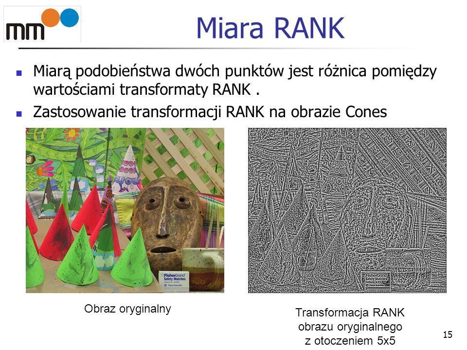 Miara RANK Miarą podobieństwa dwóch punktów jest różnica pomiędzy wartościami transformaty RANK. Zastosowanie transformacji RANK na obrazie Cones 15 O