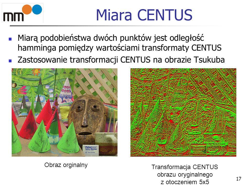 Miara CENTUS Miarą podobieństwa dwóch punktów jest odległość hamminga pomiędzy wartościami transformaty CENTUS Zastosowanie transformacji CENTUS na ob