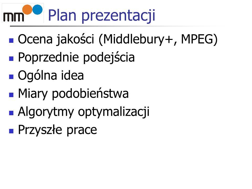Plan prezentacji Ocena jakości (Middlebury+, MPEG) Poprzednie podejścia Ogólna idea Miary podobieństwa Algorytmy optymalizacji Przyszłe prace