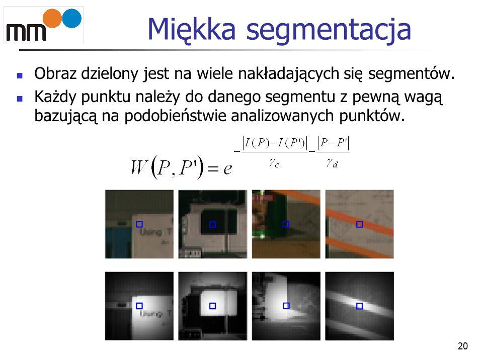 Miękka segmentacja Obraz dzielony jest na wiele nakładających się segmentów. Każdy punktu należy do danego segmentu z pewną wagą bazującą na podobieńs