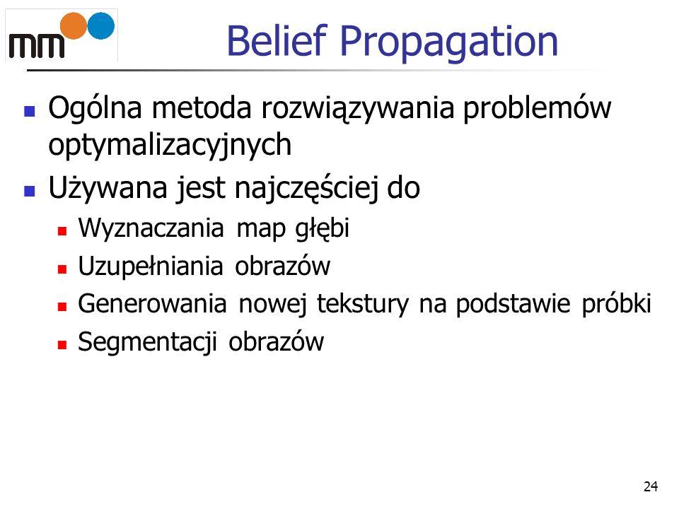 Belief Propagation Ogólna metoda rozwiązywania problemów optymalizacyjnych Używana jest najczęściej do Wyznaczania map głębi Uzupełniania obrazów Gene